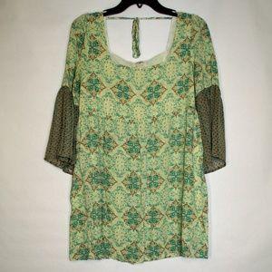 Umgee Boho Flowy Slit Bell Sleeve Tunic Dress